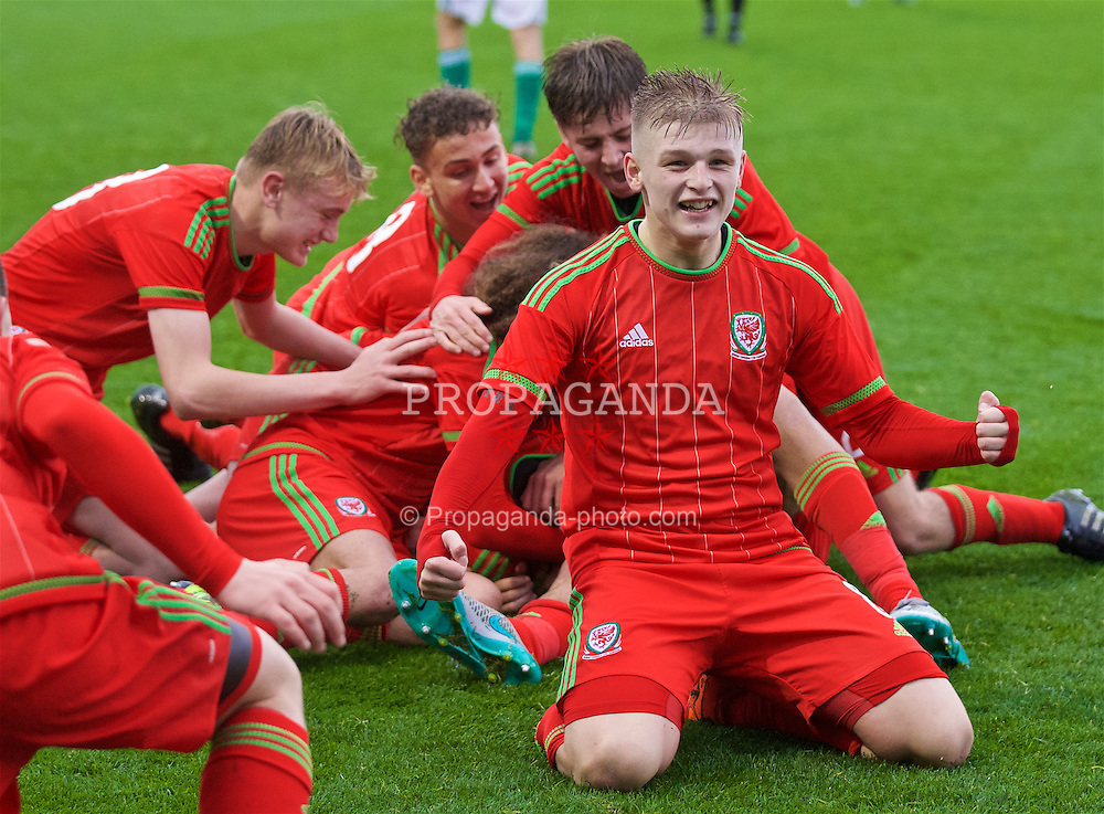 NEWPORT, WALES - Thursday, November 5, 2015: Wales' Ryan Stirk celebrates team-mates after Steffan Buckeley's third goal during the Under-16's Victory Shield International match at Dragon Park. (Pic by David Rawcliffe/Propaganda)
