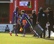 Charlton Athletic midfielder, Alou Diarra (12) coming off and being replaced with Charlton Athletic midfielder, Diego Poyet (c39) during the Sky Bet Championship match between Brentford and Charlton Athletic at Griffin Park, London, England on 5 March 2016. Photo by Matthew Redman.