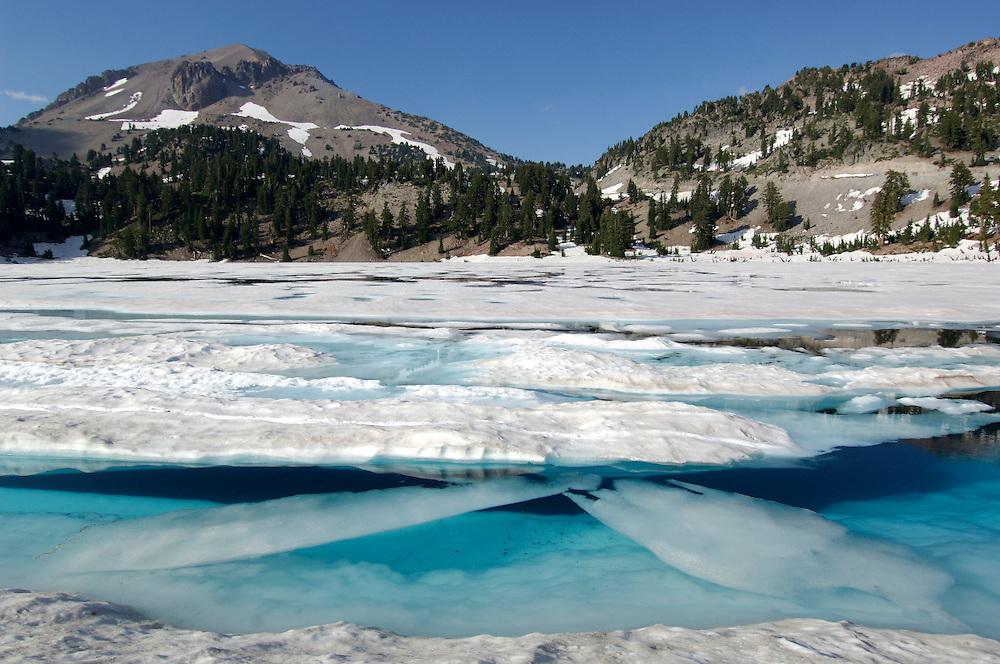 Ice on Lake Helen, Lassen Volcanic National Park, California, United States of America