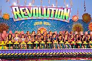 Europe, Germany, North Rhine-Westphalia, Ruhr area, Herne, the kermis in the district Crange [the kermis in Crange is the biggest fair in North Rhine-Westphalia], the fairground ride Revolution.....Europa, Deutschland, Nordrhein-Westfalen, Ruhrgebiet, Herne, die Cranger Kirmes im Stadtteil Crange [die Cranger Kirmes ist das groesste Volksfest in Nordrhein-Westfalen], das Fahrgeschaeft Revolution.....[For each usage of my images the General Terms and Conditions are mandatory.]
