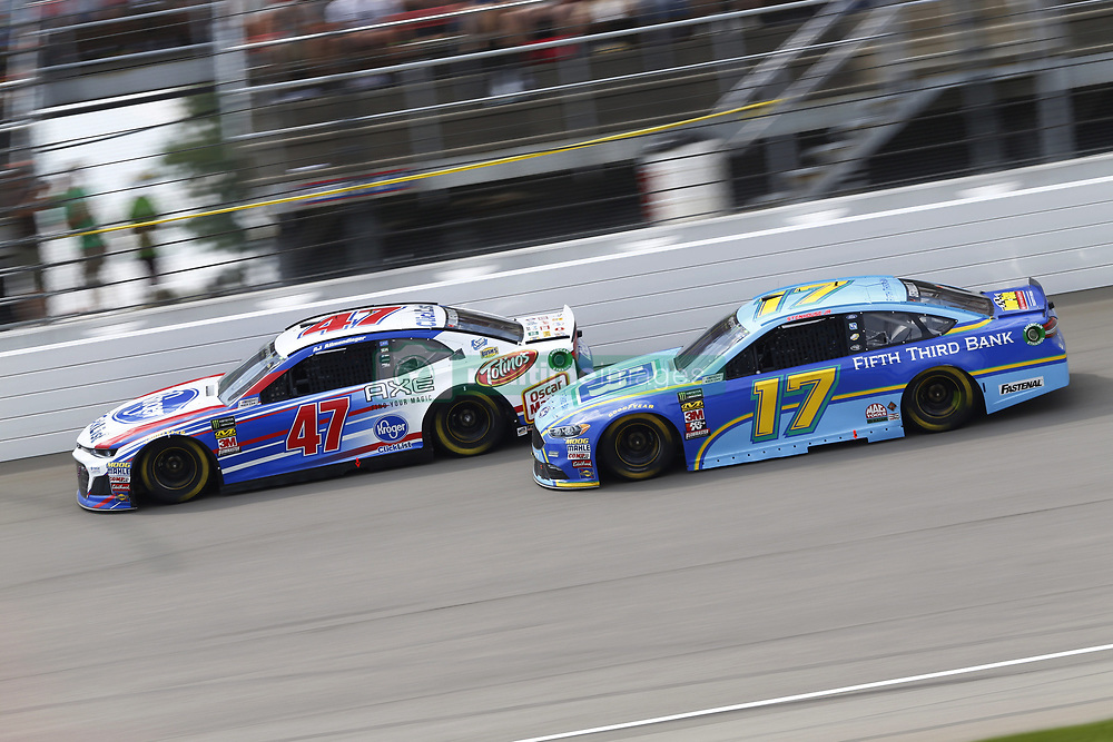 August 12, 2018 - Brooklyn, Michigan, United States of America - Ricky Stenhouse, Jr (17) and AJ Allmendinger (47) battle for position during the Consumers Energy 400 at Michigan International Speedway in Brooklyn, Michigan. (Credit Image: © Chris Owens Asp Inc/ASP via ZUMA Wire)
