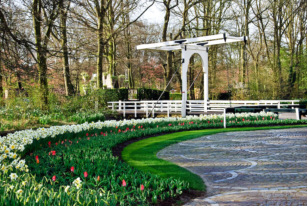 Draw bridge at Keukenhof Spring Tulip Gardens, Lisse, The Netherlands.