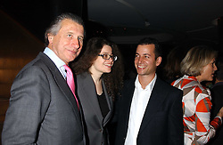 Left to right, ARNAUD BAMBERGER, AMANDA SHARP and MATTHEW SLOTOVER at a dinner hosted by Arnaud Bamber MD of Cartier, Amanda Sharp and Matthew Slotover Directors of the Frieze Art Fair to celebrate artists featured in the 2005 Frieze Art Fair Curatorial Programme at Nobu-Berkeley, 15th Berkeley Street, London on 21st October 2005.<br />