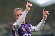 MELBOURNE, VIC - JANUARY 19: Perth Glory midfielder Neil Kilkenny (88) gestures prior to his corner kick at the Hyundai A-League Round 14 soccer match between Melbourne City FC and Perth Glory at AAMI Park in VIC, Australia 19th January 2019. Image by (Speed Media/Icon Sportswire)
