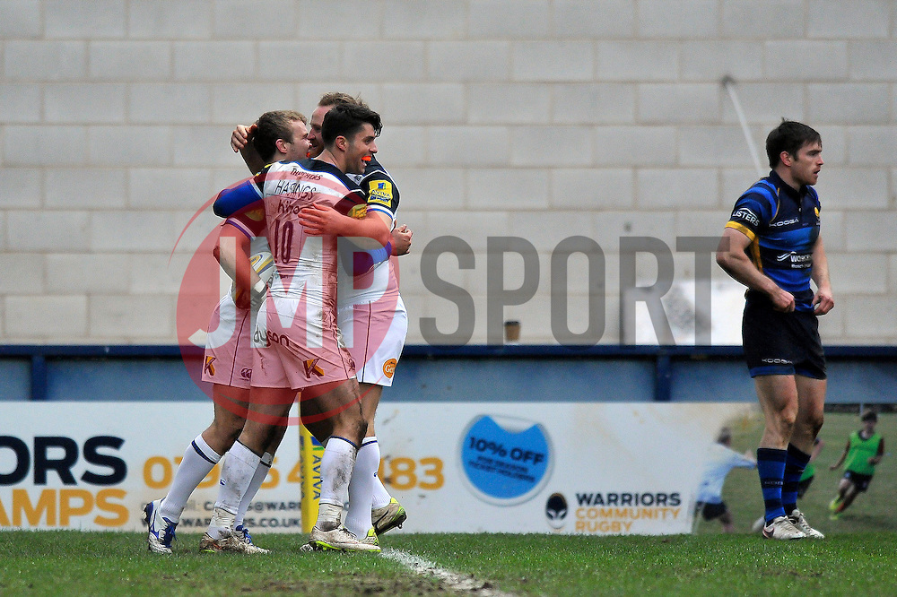 Jonathan Evans of Bath Rugby celebrates his try with team-mates - Mandatory byline: Patrick Khachfe/JMP - 07966 386802 - 13/02/2016 - RUGBY UNION - Sixways Stadium - Worcester, England - Worcester Warriors v Bath Rugby - Aviva Premiership.