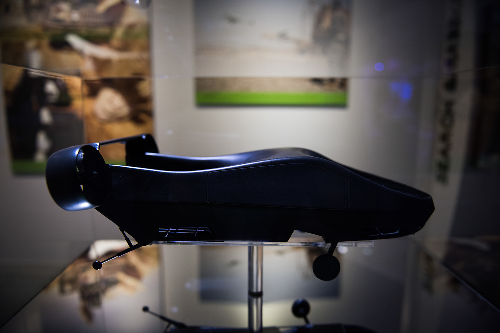 "30206010A - DRONES - A model of the Israeli Cormorant passenger carrying drone developed by Urban Aeronautics sits on display at the ""Drones: Is the Sky the Limit?"" exhibit at the Intrepid Sea, Air, and Space Museum in New York, NY on May 9, 2017. The drone is designed such that it could evacuate civilians or troops from hostile environments."