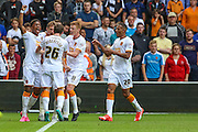 Hull City celebrate taking the lead during the Sky Bet Championship match between Wolverhampton Wanderers and Hull City at Molineux, Wolverhampton, England on 16 August 2015. Photo by Shane Healey.