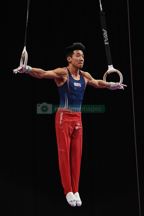 August 18, 2018 - Boston, Massachussetts, U.S - KANJI OYAMA competes on the still rings during the final round of competition held at TD Garden in Boston, Massachusetts. (Credit Image: © Amy Sanderson via ZUMA Wire)