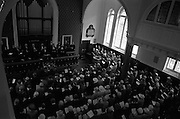 08/06/1963<br /> 06/08/1963<br /> 08 June 1963<br /> Re-dedication of Methodist Church, Abbey Street, Dublin.  Reopening and re-dedication of the Church as the new headquarters of the Dublin Central Mission, seeing the amalgamation of the Abbey Street and Blackhall Place Circuit and the Dublin Central Mission Circuit. Picture shows a general view of the alter area and a section of the overflow congregation with Rev. Albert Holland, D.D., Chairman of Dublin District conducting the Service.