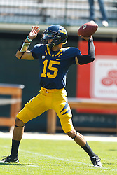 September 17, 2011; San Francisco, CA, USA;  California Golden Bears quarterback Zach Maynard (15) warms up before the game against the Presbyterian Blue Hose at AT&T Park.