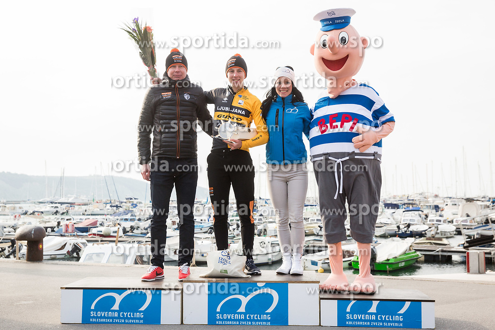 Tadej Pogacar of Ljubljana Gusto Xaurum celebrates at Trophy ceremony after the cycling race 5. VN Slovenske Istre / 5th Slovenian Istra Grand Prix, on February 25, 2018 in Izola/ Isola, Slovenia. Photo by Vid Ponikvar / Sportida