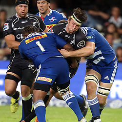 DURBAN, SOUTH AFRICA - MAY 31: Stephan Lewies of the Cell C Sharks on attack and is tackled by Alistair Vermaak of the DHL Stormers during the Super Rugby match between Cell C Sharks and  DHL Stormers at Growthpoint Kings Park on May 31, 2014 in Durban, South Africa. (Photo by Steve Haag/Gallo Images)