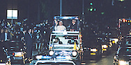 Pope in Popemobile on Los Angeles Street during a visit of Pope John Paul II to the USA in 1987.  Photograph by Dennis Brack...Photograph by Dennis Brack bb 28