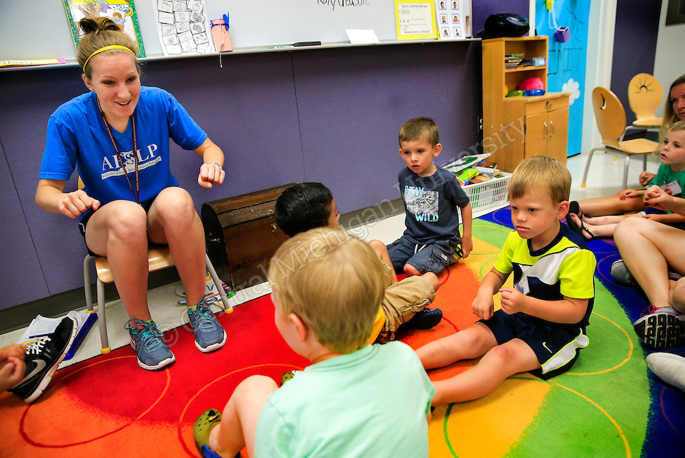 SSC summer speech-language specialty clinic in Health Professions. CMU's summer speech-language specialty clinic, a five-week camp where graduate students work with children to help them improve communication techniques through dynamic group and individual activities. Photo by Steve Jessmore/ Central Michigan University