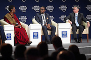 Winnie Byanyima, Executive Director, Oxfam International, United Kingdom;<br /> Mandla Sibeko, Chairman, Mineonline Africa, South Africa; Young Global Leader and John B. Veihmeyer, Global Chairman, KPMG International, USA at the World Economic Forum on Africa 2015 in Cape Town. Copyright by World Economic Forum / Greg Beadle