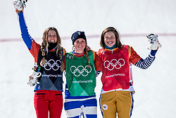 PYEONGCHANG-GUN, SOUTH KOREA - FEBRUARY 16: (L-R) Silver medalist Julia Pereira De Sousa Mabileau of France, gold medalist Michela Moioli of Italy and bronze medalist Eva Samkova of the Czech Republic pose during the victory ceremony for the Ladies' Snowboard Cross Big Final on day seven of the PyeongChang 2018 Winter Olympic Games at Phoenix Snow Park on February 16, 2018 in Pyeongchang-gun, South Korea.  Photo by Ronald Hoogendoorn / Sportida