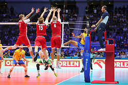 September 30, 2018 - Turin, Piedmont, Italy - Artur Szalpuk(L), Jakub Kochanowski (C) and Bartosz Kurek (R) of Poland during the final match between Brazil and Poland for the FIVB Men's World Championship 2018 at Pala Alpitour in Turin, Italy, on 30 September 2018. Poland won 3: 0 and it is confirmed world champion. (Credit Image: © Massimiliano Ferraro/NurPhoto/ZUMA Press)