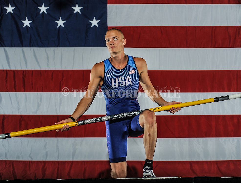 Pole vaulter Sam Kendricks, in Oxford, Miss. on Monday, July 11, 2016, will represent the United States in the Olympics in Rio de Janeiro, Brazil.