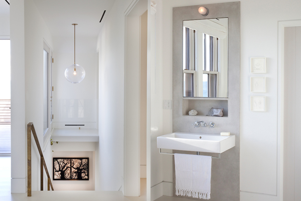 Martha's Vineyard house. Bathroom and stairs. Architect: Claudia Noury-Ello. Designer: Christine Lane Interiors