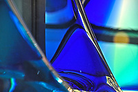 Close up of beautiful, deep blue Murano art glass in a shop window in Venice, Italy.
