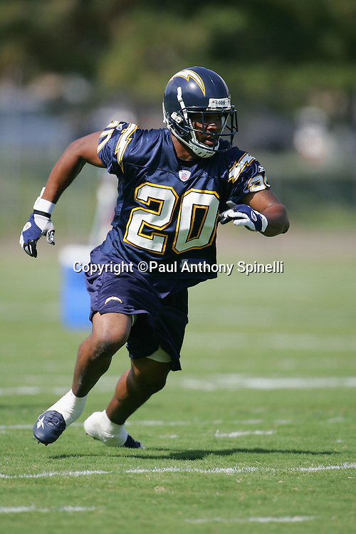 SAN DIEGO - JUNE 10:  Safety Marlon McCree #20, the San Diego Chargers free agent acquisition from the Carolina Panthers, works out during mini camp drills at Chargers Park on June 10, 2006 in San Diego, California. ©Paul Anthony Spinelli *** Local Caption *** Marlon McCree