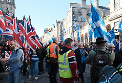 All Under One Banner Independence March, Edinburgh, Saturday 6th October 2018<br /> <br /> Pictured: The march went down the High Street and past a small counter demonstration of British Nationalists but the police and stewards ensured there was no trouble.<br /> <br /> Alex Todd | Edinburgh Elite media