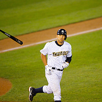 New York Yankees Third Baseman Alex Rodriguez tosses his bat after walking in at bat during a minor league game for the AA Trenton Thunder in Trenton, NJ on August 3, 2013.  He is facing a suspension by Major League Baseball for his alleged use of steroids with the Biogenesis clinic in Florida.