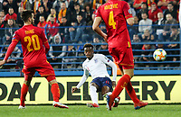 PODGORICA, MONTENEGRO - MARCH 25: England's Callum Hudson-Odoi shoots the ball during the 2020 UEFA European Championships group A qualifying match between Montenegro and England at Podgorica City Stadium on March 25, 2019 in Podgorica, Montenegro. (MB Media)