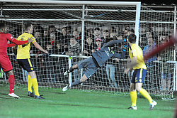 NANTWICH KEEPER WILLIAM JAASKELAINEN SAVES SHOTS ON TARGET FROM KETTERING TOWN TO KEEP A CLEAN SHEET, Kettering Town v Nantwich Town Emirates FA Cup 1st Round Replay Latimer Park, Tuesday 17th October 2017, Score 0-1, Att 903.<br /> Photo:Mike Capps