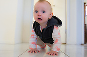 9 month old baby girl crawling on the floor ****Model Release available