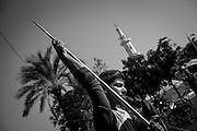 One of the Al Jazeera paralympics team training javelin throw in Gaza City