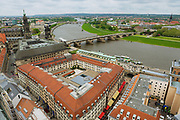 DRESDEN, GERMAY - MAY 18, 2010: Aerial view of the historical part of the city and Elbe river in Dresden, Germany.