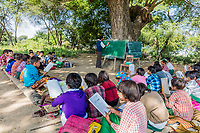 CHAUNG-U, MYANMAR - DECEMBER 01, 2016 : children at school in Myanmar (Burma)