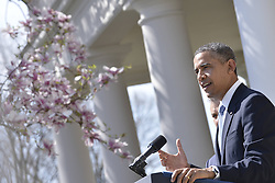 U.S. President Barack Obama delivers a speech on the 2014 budget plan in the Rose Garden of the White House in Washington D.C., capital of the United States, April 10, 2013. U.S. President Barack Obama on Wednesday unveiled his budget plan, proposing 3.78 trillion dollars in spending for the 2014 fiscal year and 1.8 trillion deficit reduction over the next decade, April 10, 2013. Photo by Imago / i-Images...UK ONLY.
