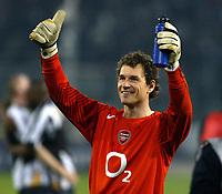 Photo: Chris Ratcliffe.<br /> Juventus v Arsenal. UEFA Champions League. Quarter-Finals. 05/04/2006. <br /> Jens Lehmann celebrates after a great performance
