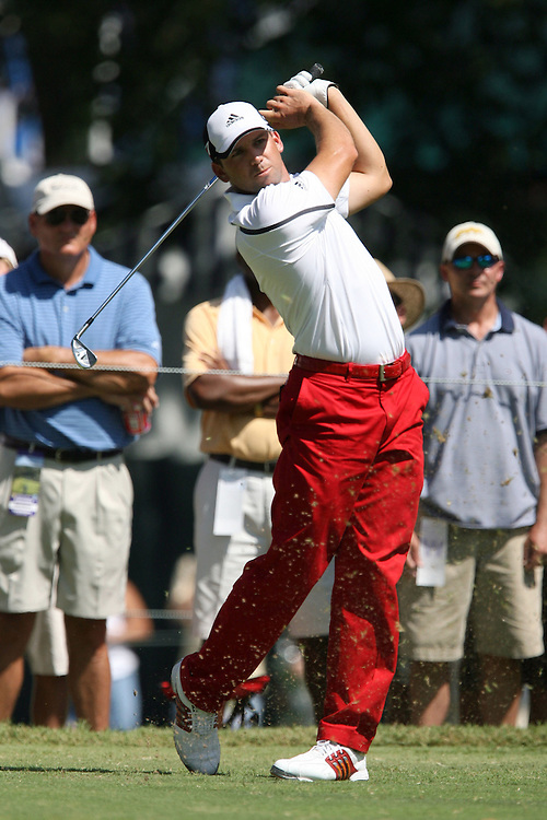 09 August 2007: Sergio Garcia tees off on the 4th hole during the first round of the 89th PGA Championship at Southern Hills Country Club in Tulsa, OK.