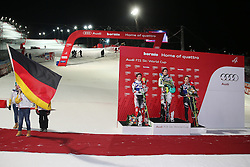 06.01.2014, Stelvio, Bormio, ITA, FIS Ski Alpin Weltcup, Bormio, Salom, Herren, Siegerpraesentation, im Bild v l n r Marcel Hirscher (AUT, 2 Platz), Felix Neureuther (GER, 1 Platz), Manfred Moelgg (ITA, 3 Platz) // f l  t  r 2nd place Marcel Hirscher of Austria and 1st place Felix Neureuther of Germany and 3rd place Manfred Moelgg of Italy celebrate on Podium after mens Slalom of the Bormio FIS Ski World Cup at the Stelvio Course in Bormio, Italy on 2014/01/06. EXPA Pictures © 2014, PhotoCredit: EXPA/ Sammy Minkoff<br /> <br /> *****ATTENTION - OUT of GER*****
