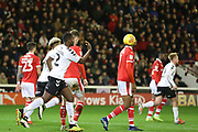 GOAL Charlton Athletic defender Anfernee Dijksteel (2) throws the ball back to the centre circle after Charlton Athletic midfielder Ben Reeves (12) scores to make the score 1-2  during the EFL Sky Bet League 1 match between Barnsley and Charlton Athletic at Oakwell, Barnsley, England on 29 December 2018.