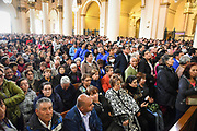 BOGOTA, COLOMBIA 04 SEPT 2017: Sunday Mass celebrated at Bogota's Primada Cathedral by Auxiliary Bishop Fernando Sabogal Viana from the Archdiocese of Bogota. Thousands of faithful arrived at the Cathedral to see the image of Our Lady of Chiquinquira, which was installed prior to Pope Francis' visit upon his request.