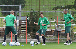 26.07.2011, Trainingsgelaende Werder Bremen, Bremen, GER, 1.FBL, Training Werder Bremen, im Bild Per Mertesacker (Bremen #29), Sebastian Prödl / Proedl (Bremen #15), Naldo (Bremen #4)..// during training session from Werder Bremen on 2011/07/26,  Trainingsgelaende Werder Bremen, Bremen, Germany..EXPA Pictures © 2011, PhotoCredit: EXPA/ nph/  Frisch       ****** out of GER / CRO  / BEL ******