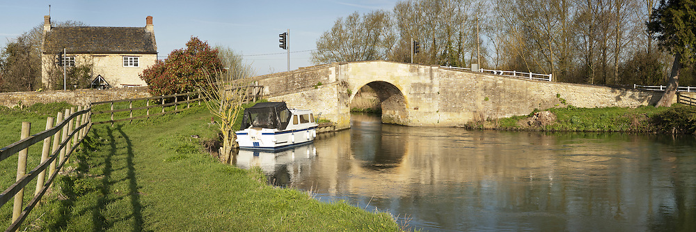 One of the two adjoining bridges over the River Thames at Radcot, Oxfordshire, Uk