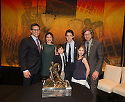 Hobey Baker's family with the 2014 Hobey Baker Award winner Johnny Gaudreau (Boston College) at the Loews Hotel, Center City in Philadelphia, PA Friday April 11th 2014<br /> <br /> Mandatory Credit: Todd Bauders/ ContrastPhotography.com