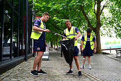 Olly Robinson of Bristol Rugby supports Bristol City Council's Clean Streets campaign on Mandela Day by helping cleaning the streets at Millennium Square - Mandatory by-line: Dougie Allward/JMP - 18/07/2017 - FOOTBALL - Millennium Square - Bristol, England - Mandella Day Bristol Rugby