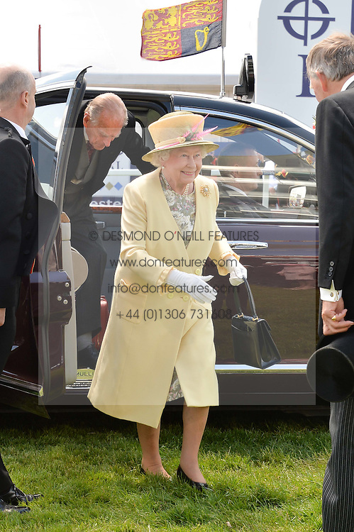 HM THE QUEEN and HRH THE DUKE OF EDINBURGH arrive at the Investec Derby 2015 at Epsom Racecourse, Epsom, Surrey on 6th June 2015.
