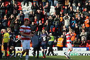 Blackpool forward Mark Cullen (9)  celebrates the victory  during the Sky Bet League 1 match between Doncaster Rovers and Blackpool at the Keepmoat Stadium, Doncaster, England on 28 March 2016. Photo by Simon Davies.
