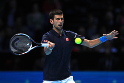 Novak Djokovic in action during day eight of the Barclays ATP World Tour Finals at The O2, London.