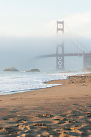 Baker Beach at sunset. Presidio of San Francisco. Golden Gate National Recreation Area. San Francisco,  CA