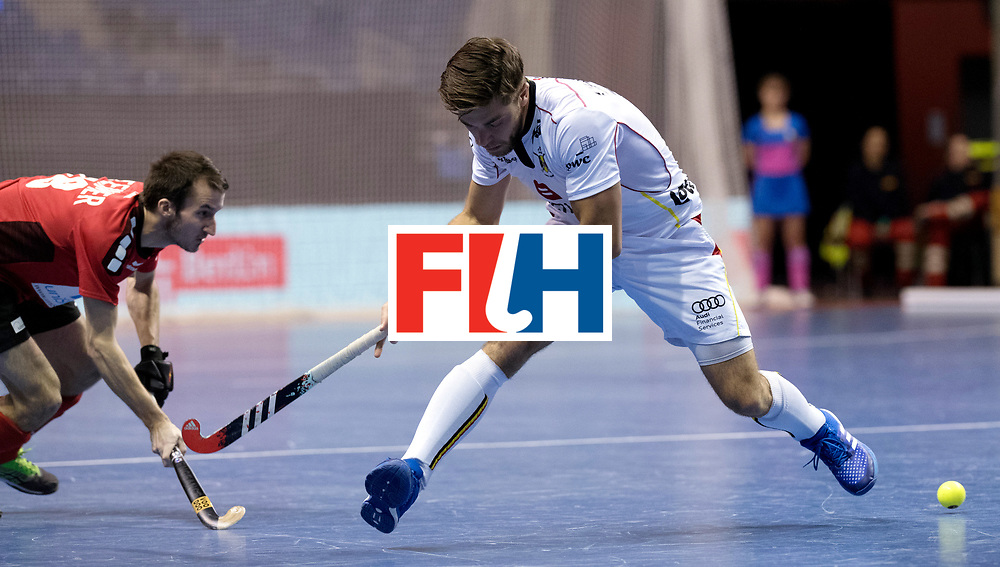 BERLIN - Indoor Hockey World Cup<br /> Men: Switzerland - Belgium<br /> foto: Cecric Charlier. <br /> WORLDSPORTPICS COPYRIGHT FRANK UIJLENBROEK