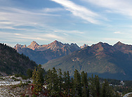 View from the Artist Point area of the Mount Baker-Snoqualmie National Forest, Washington State, USA looking north towards Picture Lake and the border peaks.  Peaks (from L to R) are: Canadian Border Peak, American Border Peak, Mount Larrabee, The Pleiades, Winchester Mountain, Mount Slesse, and Goat Mountain.