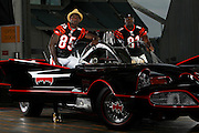 2010.08.24 BENGALS BATMANANDROBIN SPORTS : Photo shoot with Chad Ochocinco and Terrell Owens with a replica Batmobile from the 1960's television show Tuesday August 24, 2010. The Enquirer/Jeff Swinger